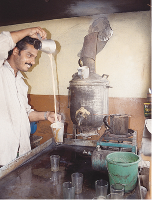 Man pouring hot water.